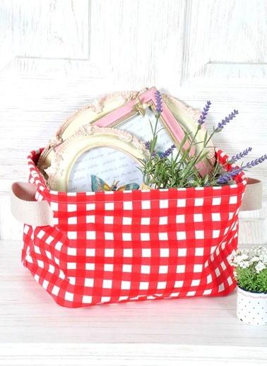 Kareli Desen Organizer Sepet 30*20 Cm - Kırmızı-The Mia